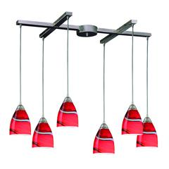 ELK lighting Pierra 6 Light Pendant In Satin Nickel And Candy Glass