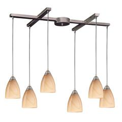 Pierra 6 Light Pendant In Satin Nickel And Sandy Glass