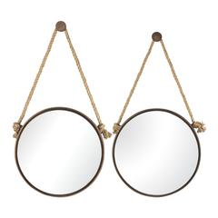 Sterling Set Of 2 Mirrors On Rope- Round