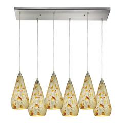ELK lighting Curvalo 6 Light Pendant In Satin Nickel And Silver Mutli Crackle Glass