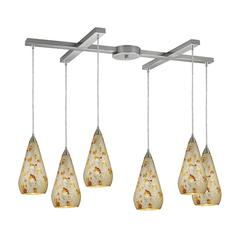 Curvalo 6 Light Pendant In Satin Nickel And Silver Multi Crackle Glass