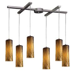 Maple 6 Light Pendant In Satin Nickel And Maple Amber Glass