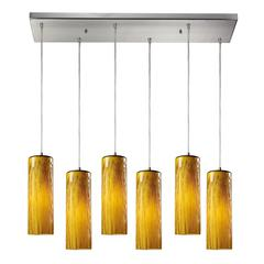 Maple 6 Light Pendant In Satin Nickel And Maple Amber