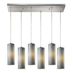 Maple 6 Light Pendant In Satin Nickel And Maple Dusk