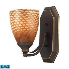 ELK lighting Bath And Spa 1 Light LED Vanity In Aged Bronze And Cocoa Glass