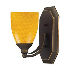 Bath And Spa 1 Light Vanity In Aged Bronze And Canary Glass