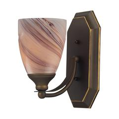 ELK lighting Bath And Spa 1 Light Vanity In Aged Bronze And Creme Glass