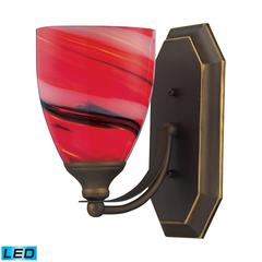 ELK lighting Bath And Spa 1 Light LED Vanity In Aged Bronze And Candy Glass