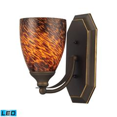 ELK lighting Bath And Spa 1 Light LED Vanity In Aged Bronze And Espresso Glass