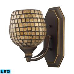 ELK lighting Bath And Spa 1 Light LED Vanity In Aged Bronze And Gold Leaf Glass