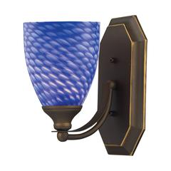 ELK lighting Bath And Spa 1 Light Vanity In Aged Bronze And Sapphire Glass