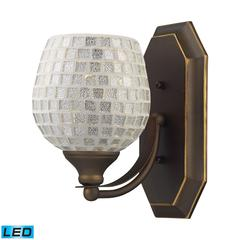 Bath And Spa 1 Light LED Vanity In Aged Bronze And Silver Glass