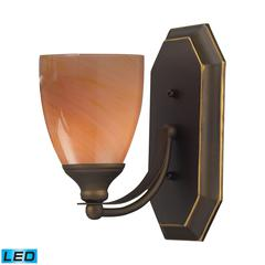 ELK lighting Bath And Spa 1 Light LED Vanity In Aged Bronze And Sandy Glass
