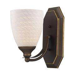 ELK lighting Bath And Spa 1 Light Vanity In Aged Bronze And White Swirl Glass