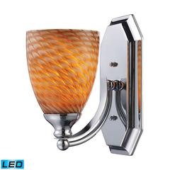 ELK lighting Bath And Spa 1 Light LED Vanity In Polished Chrome And Cocoa Glass