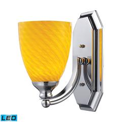 Bath And Spa 1 Light LED Vanity In Polished Chrome And Canary Glass