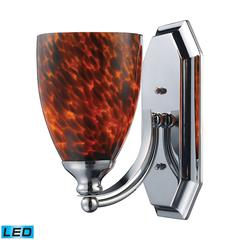 Bath And Spa 1 Light LED Vanity In Polished Chrome And Espresso Glass