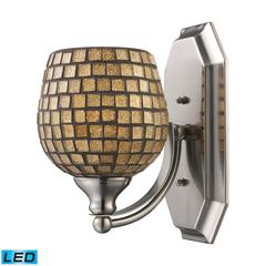 Bath And Spa 1 Light LED Vanity In Polished Chrome And Gold Leaf Glass
