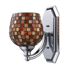 ELK lighting Bath And Spa 1 Light Vanity In Polished Chrome And Multi Fusion Glass
