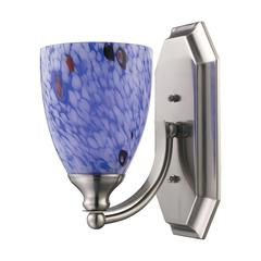 Bath And Spa 1 Light Vanity In Satin Nickel And Starburst Blue Glass