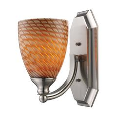 ELK lighting Bath And Spa 1 Light Vanity In Satin Nickel And Cocoa Glass