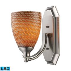 ELK lighting Bath And Spa 1 Light LED Vanity In Satin Nickel And Cocoa Glass