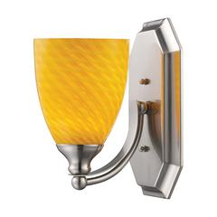 Bath And Spa 1 Light Vanity In Satin Nickel And Canary Glass