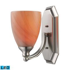 Bath And Spa 1 Light LED Vanity In Satin Nickel And Sandy Glass