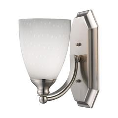 ELK lighting Bath And Spa 1 Light Vanity In Satin Nickel And Simple White Glass