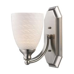Bath And Spa 1 Light Vanity In Satin Nickel And White Swirl Glass