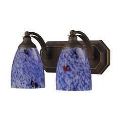 Bath And Spa 2 Light Vanity In Aged Bronze And Starburst Blue Glass