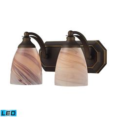 Bath And Spa 2 Light LED Vanity In Aged Bronze And Creme Glass