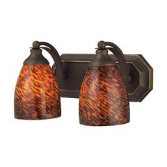 ELK lighting Bath And Spa 2 Light Vanity In Aged Bronze And Espresso Glass