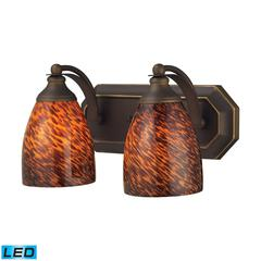 ELK lighting Bath And Spa 2 Light LED Vanity In Aged Bronze And Espresso Glass