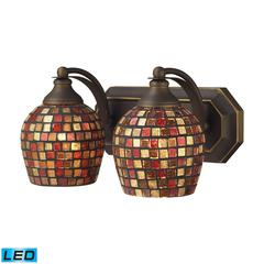 ELK lighting Bath And Spa 2 Light LED Vanity In Aged Bronze And Multi Fusion Glass