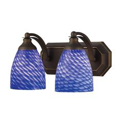 ELK lighting Bath And Spa 2 Light Vanity In Aged Bronze And Sapphire Glass