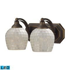 ELK lighting Bath And Spa 2 Light LED Vanity In Aged Bronze And Silver Glass