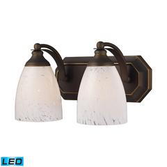 ELK lighting Bath And Spa 2 Light LED Vanity In Aged Bronze And Snow White Glass