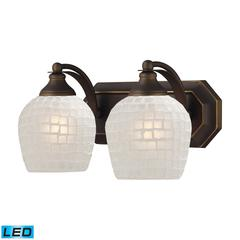 Bath And Spa 2 Light LED Vanity In Aged Bronze And White Glass