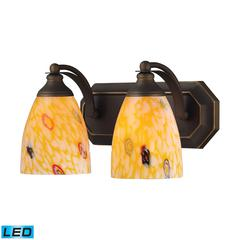 Bath And Spa 2 Light LED Vanity In Aged Bronze And Yellow Glass
