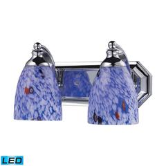 ELK lighting Bath And Spa 2 Light LED Vanity In Polished Chrome And Starburst Blue Glass
