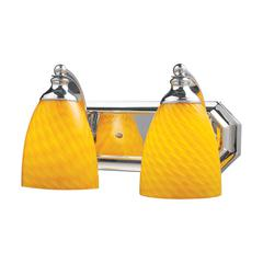 Bath And Spa 2 Light Vanity In Polished Chrome And Canary Glass