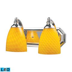ELK lighting Bath And Spa 2 Light LED Vanity In Polished Chrome And Canary Glass