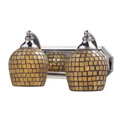 Bath And Spa 2 Light Vanity In Polished Chrome And Gold Leaf Glass