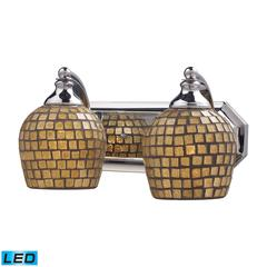 Bath And Spa 2 Light LED Vanity In Polished Chrome And Gold Leaf Glass