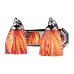 ELK lighting Bath And Spa 2 Light Vanity In Polished Chrome And Multi Glass