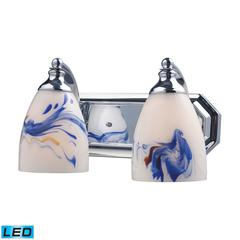 Bath And Spa 2 Light LED Vanity In Polished Chrome And Mountain Glass