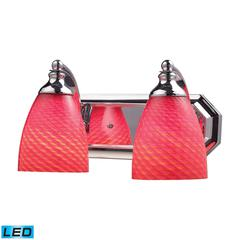 ELK lighting Bath And Spa 2 Light LED Vanity In Polished Chrome And Scarlet Red Glass
