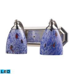 ELK lighting Bath And Spa 2 Light LED Vanity In Satin Nickel And Starburst Blue Glass