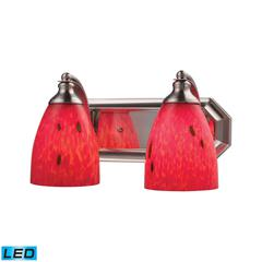 Bath And Spa 2 Light LED Vanity In Satin Nickel And Fire Red Glass